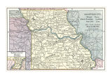 Natural Resources Map of Missouri, c 1900, Art Print