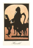 Silhouette of Handel at Harpsichord, Giclee Print