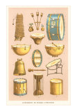 Variety of Percussion Instruments, Art Print