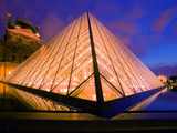 Pyramid and the Louvre Museum at Twilight, Paris, France, Photographic Print, I. M. Pei