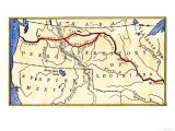 Map of the Lewis and Clark Route across Louisiana Territory, c.1804-1806, Giclee Print