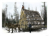 Big Load of Logs on a Skidder in Michigan, c.1880, Giclee Print