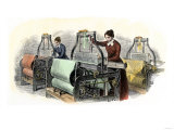 Lowell Girls Weaving in Massachusetts Textile Mills, c.1850, Giclee Print