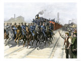 U.S. Cavalry Escorting a Meat Train from the Chicago Stockyards during the Pullman Strike, c.1894, Giclee Print