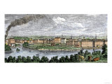 Textile Mills Line the Merrimac and Concord Rivers in Lowell, Massachusetts, c.1830, Giclee Print