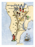 Map of South America, from Sebastian Cabot's Map of the World, c.1544, Giclee Print