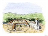 Typical Arrangement of a Spanish Colonial Mission Settlement in North America, Giclee Print