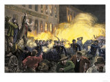 Dynamite Bomb Exploding Among Police Ranks during the Haymarket Square Riot in Chicago, c.1886, Giclee Print