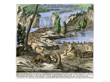 Beavers at Work Below Niagara Falls, 18th Century, Giclee Print