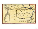 Route of Zebulon Pike across Western Territory to Explore Colorado Region 1805 - 1806, Giclee Print