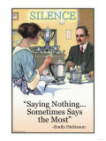 Silence: Saying Nothing Sometimes Says Most -  Emily Dickinson, Giclee Print