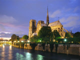 Notre Dame and River at Night, Paris, France, Photographic Print