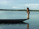 Indian Fishing with Bow and Arrow, Xingu, Amazon Region, Brazil, South America, Giclee Print