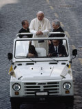 Pope John Paul II Rides in an Open-Air Vehicle, Giclee Print