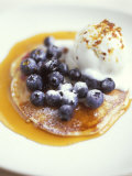 Pancakes with Blueberries, Maple Syrup & Vanilla Ice Cream, Photographic Print
