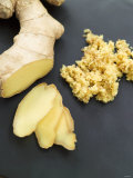Fresh Ginger Root in Slices and Grated, Photographic Print