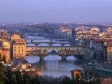 Ponte Vecchio and Arno River, Florence, Tuscany, Italy, Giclee Print