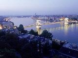 Chain Bridge over Danube, Budapest, Hungary, Photographic Print