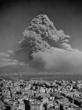 Lava Dust from Eruption of Mount Vesuvius Spiraling Above Naples, Photographic Print