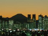 Mount Fuji and City Skyline, Tokyo, Honshu, Japan, Photographic Print