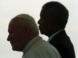 Pope John Paul II and South African President Nelson Mandela, Giclee Print