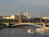 Kremlin and Moskva River from Pedestrian Bridge at Cathedral of Christ the Saviour, Moscow, Russia, Photographic Print
