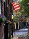 Cobblestone Street and Historic Homes of Beacon Hill, Boston, Massachusetts, USA, Photographic Print