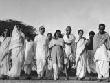 Hindu Leader Mohandas Gandhi Walking with His Secretaries and Family Members Around His Colony, Photographic Print