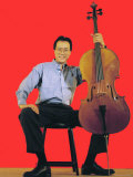 Classical Cellist Yo-Yo Ma Sitting with Cello in Smiling, Full Length Portrait, Photographic Print