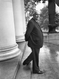Poet and Vice President of Hartford Accident and Indemnity Co, Wallace Stevens Standing on Steps, Photographic Print