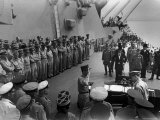 US Officers Line Deck of USS Missouri as Japanese Delegation Prepares to Sign Surrender Documents, Photographic Print