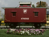 A Bright Red Caboose and a Flower Bed Compete for Vivid Color, Photographic Print