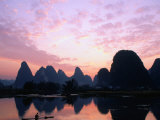 Mountains on the Li River at Sunrise, Yangshuo, China. Photographic Print