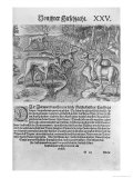 Florida Indians Hunting Deer, Americae Decima Pars by Jacques le Moyne, Engraved by Theodor de Bry, Giclee Print