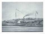 Robert Fulton's Steamboat the 'Clermont', on the Hudson River, New York, 1807, Giclee Print