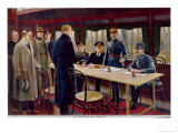 The Signing of the Armistice on 11th November, 1918, at 5 A.M., Giclee Print