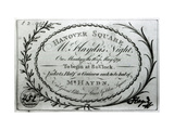 Ticket to Mr. Haydn's Night in Hanover Square, 16th May 1791, Giclee Print