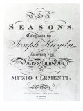 Cover of the Score Sheet of Seasons by Joseph Haydn, Giclee Print
