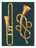 Musical Instruments: Trombone and Labyrinthine Trumpet, Giclee Print