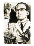 Dr. Jonas Salk, Creator of the Polio Vaccine, Looks at a Test Tube, Giclee Print