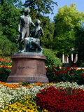 Lanner/ Strauss Monument in Kurpark with Mozart Temple in Background., Baden, Austria, Photographic Print