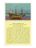Plymouth, Massachusetts - Mayflower Model, the Compact in Plymouth Hall Scene, 1620, Giclee Print