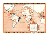 Coffee Map of the World, Giclee Print