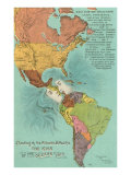 Map of the Americas, Opening of the Panama Canal, Art Print