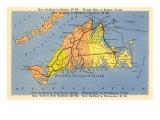 Map of Martha's Vineyard, Massachusetts Art Print
