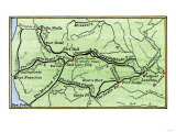 Map of the Principal Westward Trails in the 1800s, Giclee Print