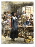 Anne Hutchinson, Preaching in Her House, 1637, Illustration by Howard Pyle, Giclee Print