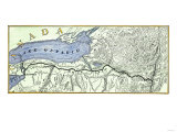 Map of the Erie Canal across New York State, 1800s, Giclee Print