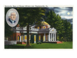 Exterior View of Thomas Jefferson's Home Monticello near Charlottesville, VA, Giclee Print