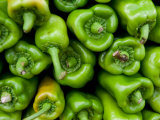 Stack of Fresh Green Bell Peppers at Marketplace, Photographic Print